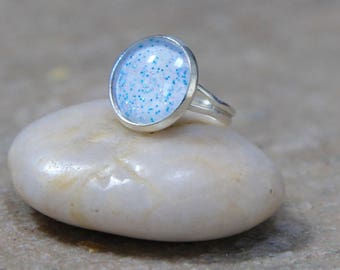 Blue Ring - Blue Silver Ring - Sparkly Ring - Statement Ring - Handmade Rings - Handmade Jewellery - Unusual Ring