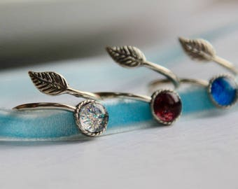 Sterling Silver Ring - Delicate Ring - Leaf Ring - Sparkle Ring - Handmade Ring - Silver Ring - Blue Ring - Ruby Red Ring