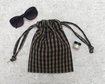 beige and black gingham smallbag - reusable