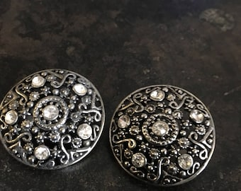 Vintage Silver Tone Filigree with Rhinestones Clip On Earrings