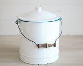 White Enamel bin White Enamel bucket Storage bin Bread Bin Flour Bin Planter Storage Graniteware Enamelware Metal bucket