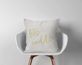 "Lets Cuddle Throw Pillow - Throw Pillow Cover - Throw Pillows - Pillow Cover - 18"" - 18x18 - Pillow Cover - Decorative Pillow Cover - P004"
