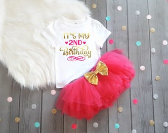 2nd Birthday Outfit Girl Hot Pink And Gold 2nd Birthday Outfit 2nd Birthday Tutu Set 2nd Birthday Outfit Second Birthday Shirt Girl