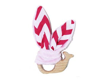 Pink whale teething ring/rattle