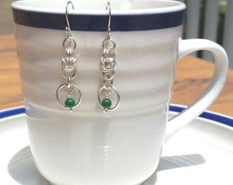 Silver Byzantine and Mobius Chainmaille Earrings, Silver Hoop Earrings, Dangle Earrings, Silver Chainmaille Earrings