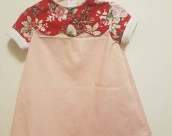 Children's 2T dress // 2T kids dress - pink with red floral accent; vintage inspired