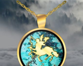 Sagittarius Pendant Necklace - November - December - Horoscope - Astrology - Zodiac - Archer