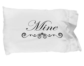 Funny Couple Pillow Cases, Mine and His (Not His) - Wedding Gift - Bridal Shower Gift - Set Of Pillow Cases