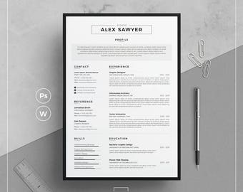 Resume Template/CV Template + Cover Letter |  Resume Template Word  | Two Page Resume | Creative & Professional Resume | Instant Download