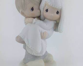 Vintage Precious Moments, Bless You Two Figurine, 1982, Jonathan & David, #E9255