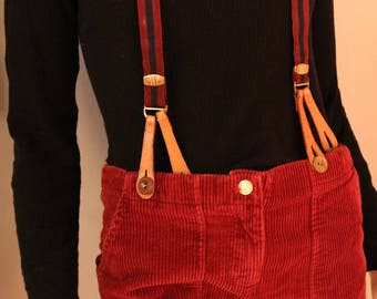1950s PARIS Button Suspenders *MULTIPLE COLORS*