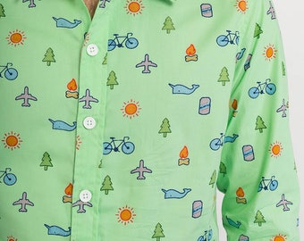 Mens 100% Cotton Long Sleeve Slim Fit Shirt Green Plane Bike Tree Whale Sun Fire Fun Print