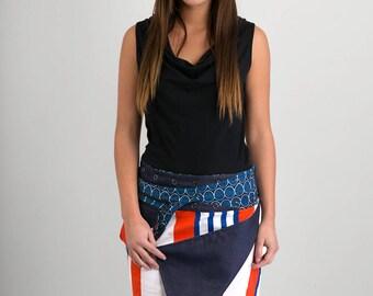 Reversible Cotton Skirt Yellow Orange Tropical Floral Print Denim Detachable Pocket Medium Length