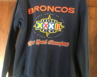 Denver Broncos 1998 Superbowl Champs Champions Sweatshirt Crew Neck Size Medium