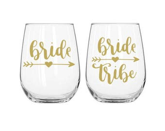 Bridal Tribe Decal, Bride Decal, Bridesmaid Decal, Wine Glass Decals, Bachelorette Party Decal, DIY Wedding Decals, Bridal Shower Favors