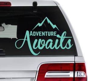 Adventure Awaits Decal, Mountain Decal, Camping decal, Gift For Hiker, Adventure Seeker Gift, Outdoor Decal, Gift for Him, Adventure Decal