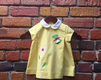 Kids' Girls' Vintage 60s Yellow A Line Dress With White Peter Pan Collar And Flower And Butterfly Embroidery Size 12-18 Months