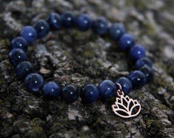 14K Rose Gold Plated Lotus Flower Blue Sodalite Crystal Bead Mala Bracelet Lotus Flower Blue Bead Bracelet Blue Mala Bracelet Crystal Lotus