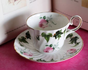 Vintage - Regency Teacup and Saucer - Bone China - Roses & Ivy Pattern - Made in England