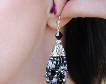 Festive Beaded Silver Cone Earrings - FJ 08