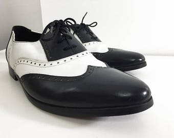 """Vintage Saddle Shoes Black & White Men's 11 Two-Tone Oxford Brogue Saddle Shoes / Pointed-Toe Rockabilly Shoes / """"The Executive"""" by Basini"""