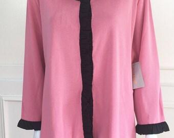 1990s Misook Pink & Black Ruffled Jacket, NWT (Size 2X)