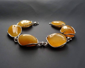 Silver (925) Bracelet with Natural Amber Honey Color 40 g 天然琥珀, Amber Jewelry, Royal Amber, Luxurious Amber Jewelry, Natural Amber #ET0053