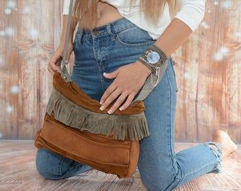 Fringe Handbag, Fringe Crossbody Purse, Cross Shoulder Bag, Camel bag, Brown Leather Bag, Gray Leather Bag, Soft Leather Bag, Boho Fashion