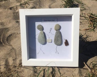 "Pebble Art Picture - ""Girls Night Out"". Contemporary piece of artwork, using natural pebbles and seaglass from the stunning cornish coast."