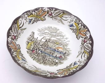 Vintage Early Canada Bowl Citadel of Kingston By Ridgway Staffordshire England Heritage Dinnerware Green Bartletts Replacement Dish
