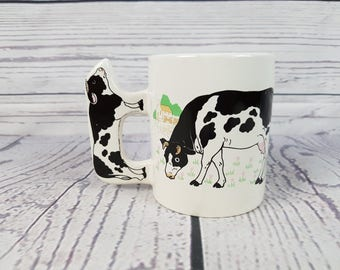 Vintage Cow Country Farm Handle Design Mug Coffee Cup Novelty Retro Decor Break Time Tea Hot Beverages Gift Farmhouse