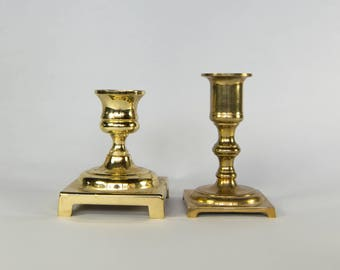 Two Vintage Brass Candlesticks with Square Bases