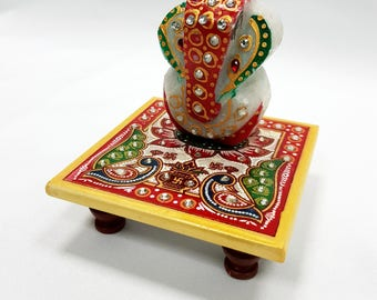 Funktionz Marble Ganesh Gopal and Stand (Bajot), hand painted with diamante embellishments