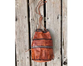 Vintage Leather Hand Made Bucket Bag