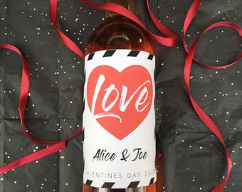 Love Valentine's Day Wine Label for Valentines Day Gifts, Valentines Day Gift for Him, Valentines Day Gift for Her (1040)