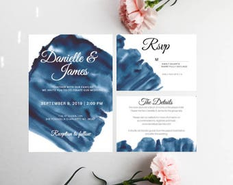 PRINTED Navy Wedding Invitation Bundle, Watercolor Invitation, Wedding Invitation Bundle, Envelopes Included, Navy, Beach Wedding