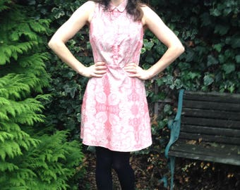 Paisley Printed Dress/Retro Shirt Dress/ Size 12