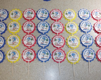 32 Sonic Cupcake Toppers PERSONALIZED - Picks Party Favors