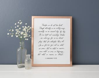 "2 Corinthians 4:16-18 Therefore we do not lose heart // 8x10"" or 9x12"" Calligraphy Print"