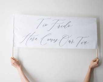 Here Comes the Bride Calligraphy Sign Banner // Custom Wording Down the Aisle Banner