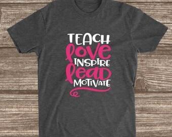 Teacher Dark Heather Grey T-shirt - Teach - Love - Inspire - Lead - Motivate