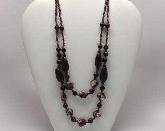 Beaded Multi Strand Necklace - Multi Layered Necklace - 2-Layer Necklace