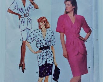 Vintage 1980's Butterick sewing pattern 6368 - Ronnie Heller MJ - Misses' mock wrap top and skirt - size 8-10-12