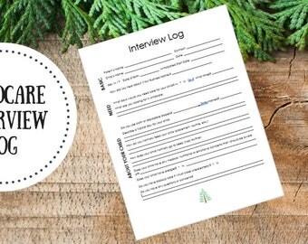 Editable | Childcare Interview Log