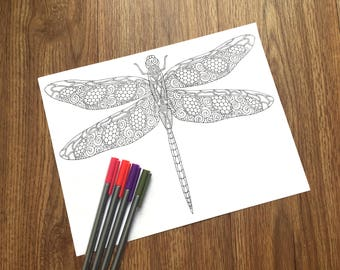 Dragonfly - PDF Zentangle Coloring Page - Therapy Coloring - Digital Download - Printable Adult Coloring Page