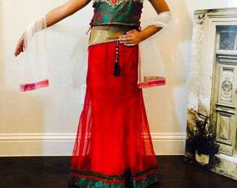 Kid Girls Lehenga Choli/ Girls Chaniya Choli/ Yellow Chaniya Choli/ Girls Indian Wear