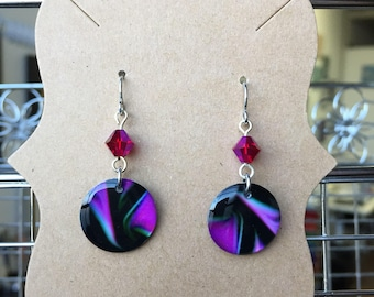 Black and Magenta Dangle Earrings with Swarovski Crystals