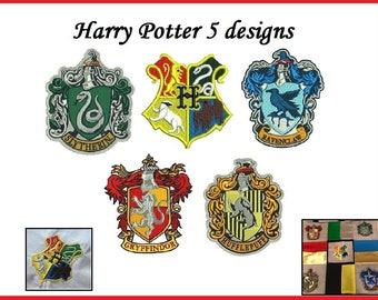 Harry Potter Embroidery Design - 5 Harry Potter crest designs - harry potter emblem instant download