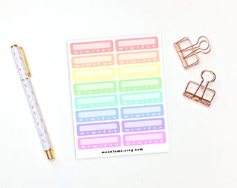 Habit Tracker box stickers - 16 rainbow blank habit stickers for erin condren life planners, happy planner stickers, journal stickers