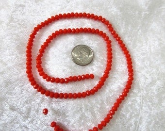"Opaque orange red 4x3mm faceted glass beads, ONE 18 "" strand of 4x3mm opaque faceted orange red rondelles, about 145 pcs, 9-7"